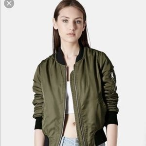 Zara Olive Green Nylon Bomber Jacket Size Large